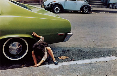 Helen Levitt , Untitled, New York (spider girl, green car), 1980 , 40 x 50 cm, Chromogenic Print