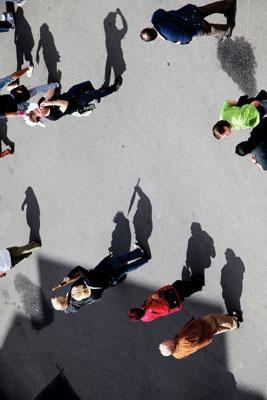 Shadows cast people