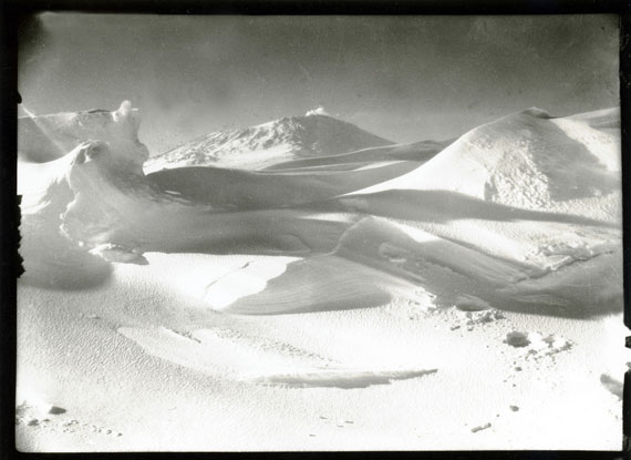 Mount Erebus, from the sea ice, Cape Evans, Oct 1911 © Richard Kossow, courtesy of ATLAS Gallery
